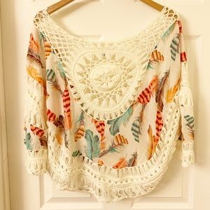 Selfie Couture Boho Feathers Poncho Style Top XS